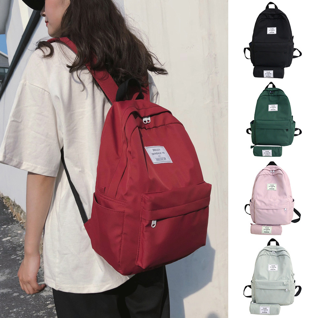 Dropshipping Fashion Student Waterproof Backpack Casual Large Capacity Travel 2 Piece Set Casual Dress Women Korea Style