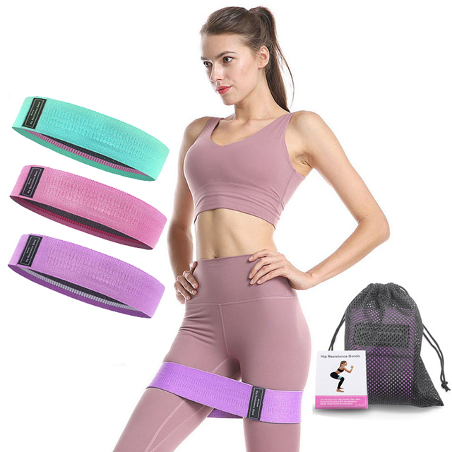 3 pcs fabric resistance bands booty band set gym equipment workout elastic rubber band for yoga sports fitness hip training 1