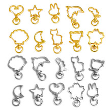 10pcs DIY Key Clasp Chain Gold Silver Color Mixed Cute Cat Dolphin Crystal Frame Open Bezel Setting Jewelry Making Findings