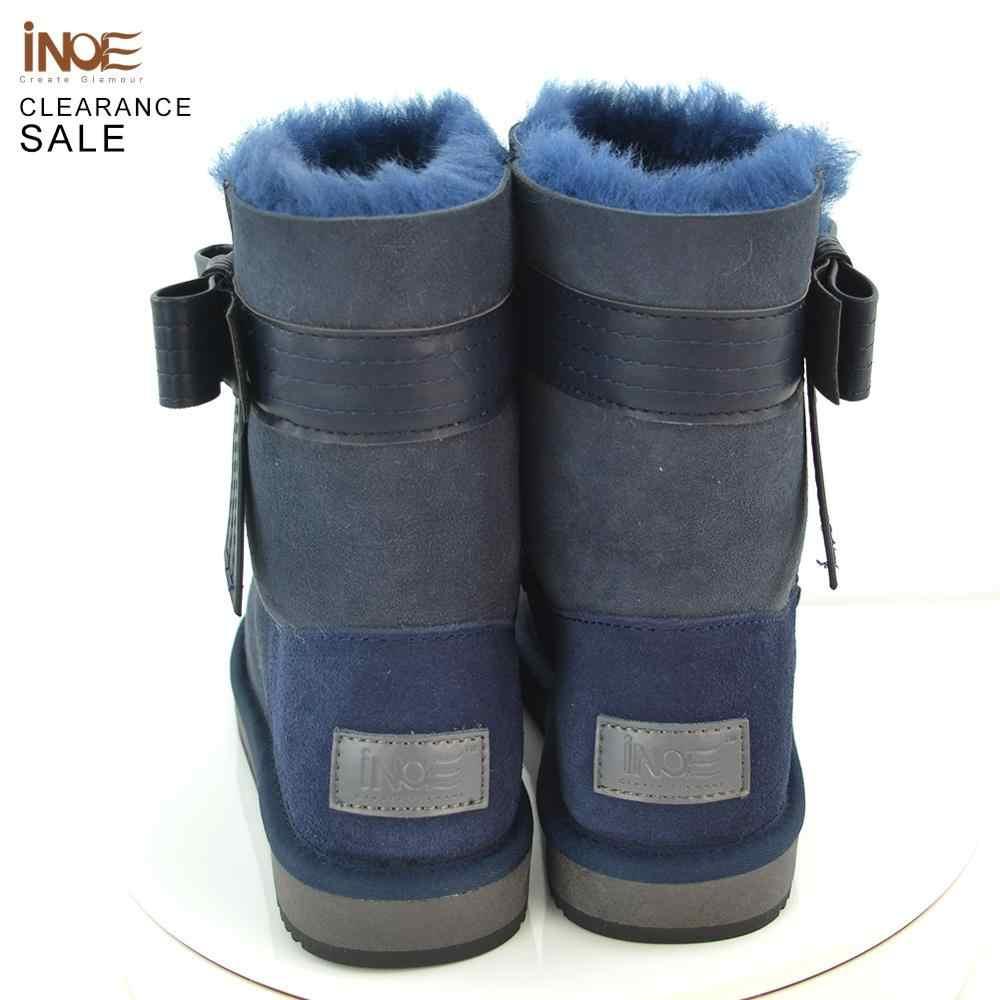 INOE כבש זמש עור טבעי פרווה מרופד אופנה נשים קרסול חורף מגפיים קצר שלג מגפיים גבוהה QualityClearance מכירה