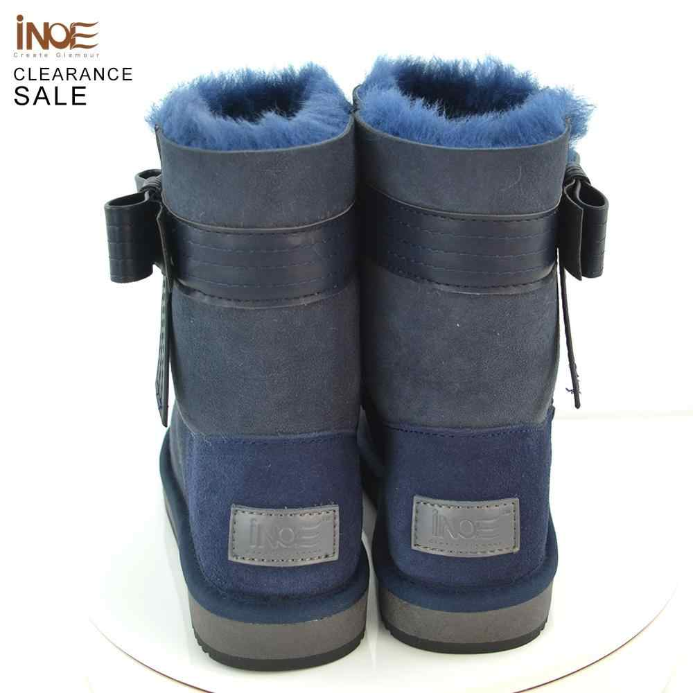 Inoe Kulit Domba Kulit Kulit Natural Bulu Berjajar Fashion Wanita Pergelangan Kaki Sepatu Bot Musim Dingin Pendek Sepatu Bot Salju Tinggi Qualityclearance Dijual