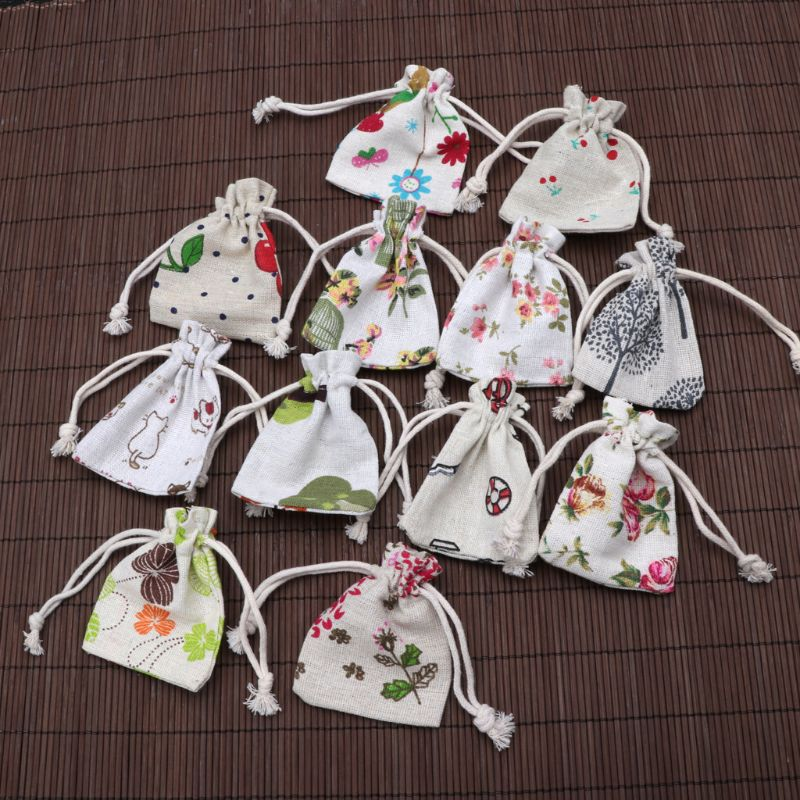 1Pc Cotton Line Drawstring Pouches Candy Favor Holder Jewelry Party Gifts Bag  Pattern At Random