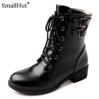 Low Heel Boots Women Autumn Winter Metal Decoration Ladies Square Heels E157 Fashion Woman Black Yellow White Round Toe Boots