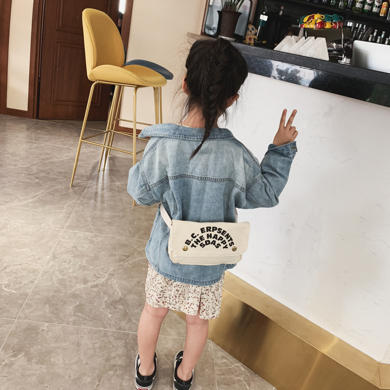 2019 New Style Printed Letter One Shoulder Canvas Bag Children's Bags Korean-style Casual CHILDREN'S Change Cross-body Backpack