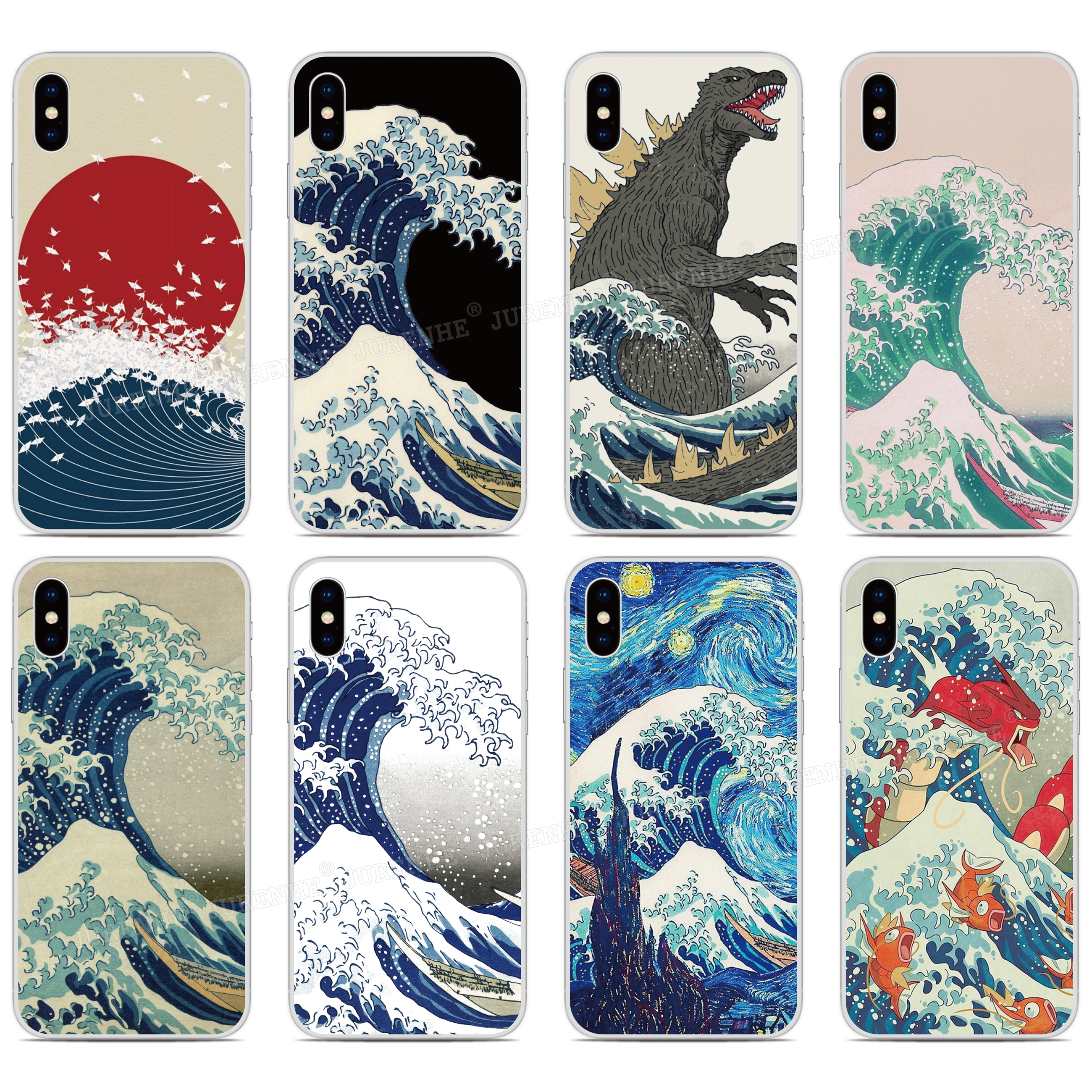 "Wave off Kanagaw Hard Cover For Hua wei Honor 9 Lite V9 Mate 9 10 / Y7 5.5 "" Y5 Y6 2017 5.0 "" P20 Phone Case Capa Coque Fundas(China)"
