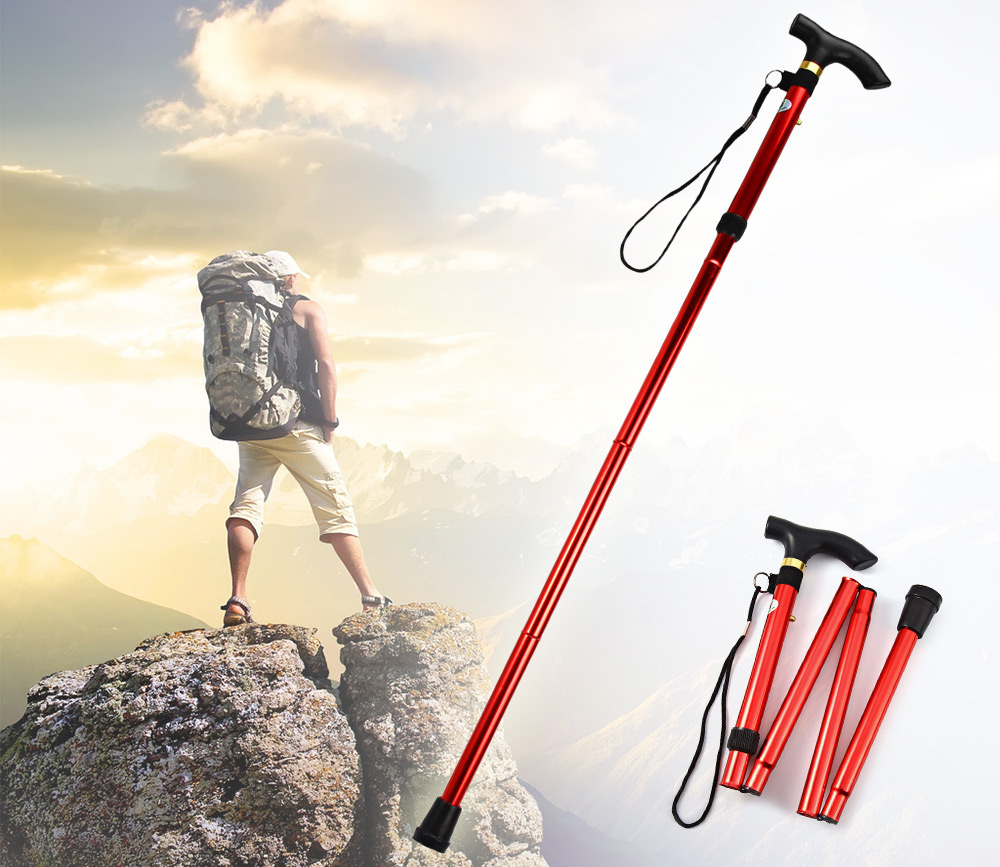Trekking Poles Travel Cane Walking Stick Aluminum Metal Adjustable Non-slip Base Trekking Walking Stick Hiking Accessories