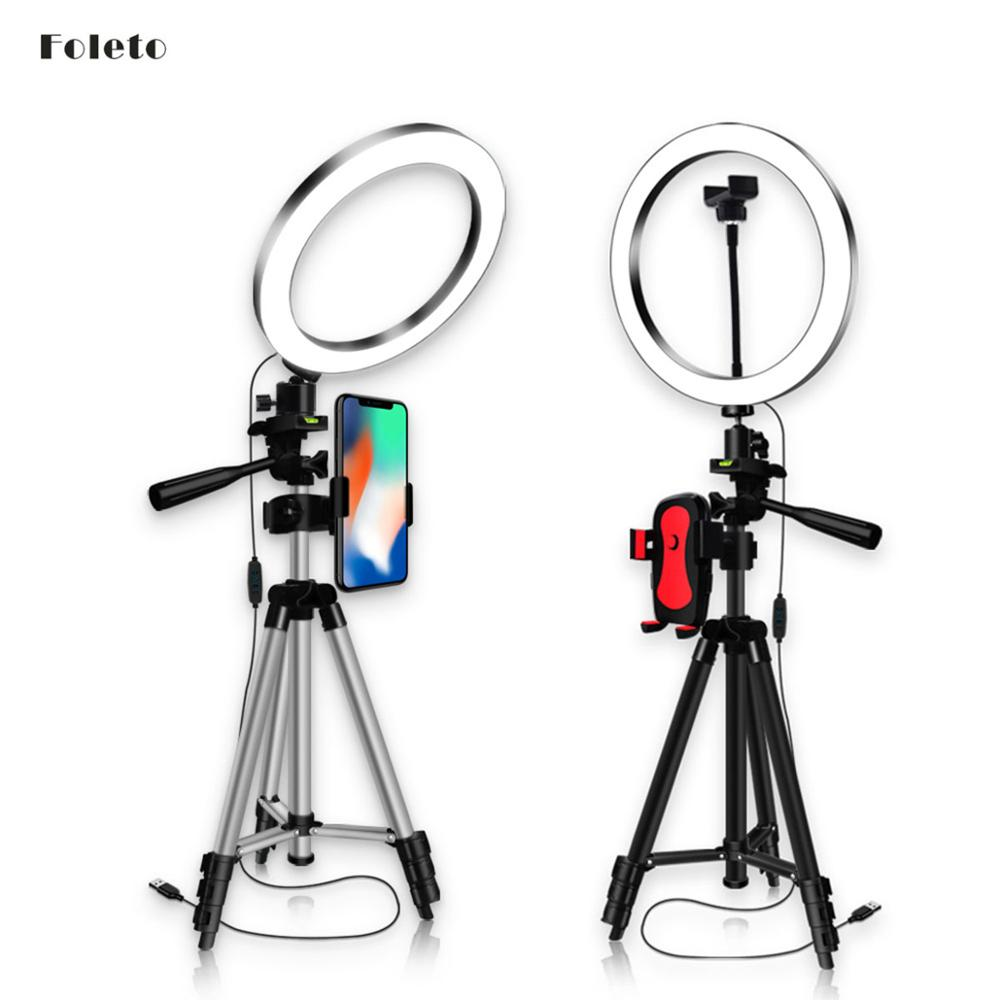 Foleto 16/20/26cm Dimmable LED Ring Light Camera Tripod Stand Kit Makeup Selfie Ring Lamp With Phone Holder for Youtube Video