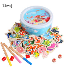 60pcs Wooden Magnetic Kids Fishing Toy Set Montessori Educational Outdoor Game For Children Baby Girl Boys 2 to 4 Years Old Gift