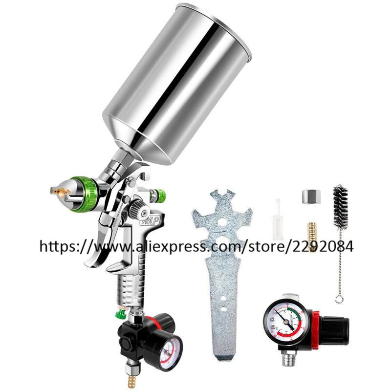 HVLP Spray Gun Gravity Feed Paint Gun Auto Paint Air Spray Gun 2 5mm Nozzle Size 1000 cc Aluminum Cup W Air Regulator
