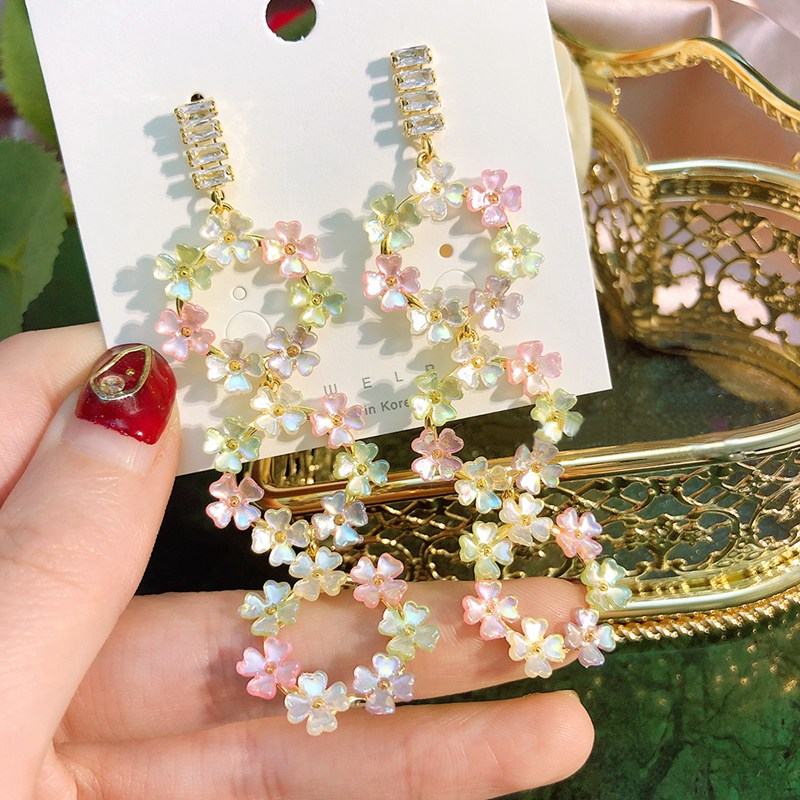 MENGJIQIAO Korean New Elegant Shell Flower Petal Circle Long Dangle Earrings  Brincos Temperament Pendientes Mujer  Jewelry