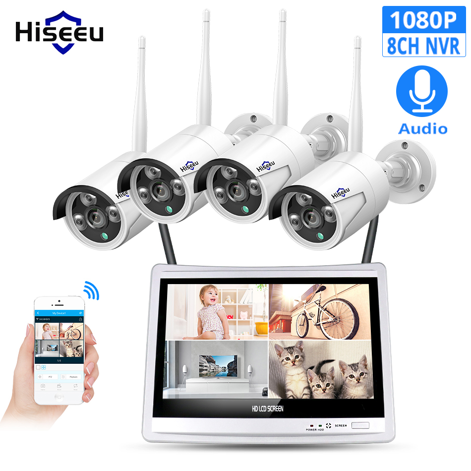 Hiseeu 8CH 1080P Wireless NVR Kits 12 LCD display HD outdoor security 2MP IP Camera video