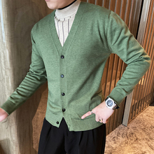 Cardigan Men Korean Sweaters Knitted Thick V-Neck Warm Business Slim-Fit Hot-Sale Single-Breasted