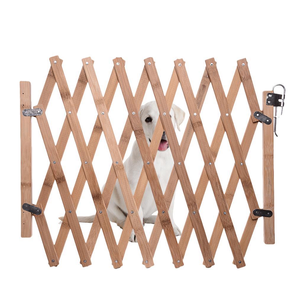 Складной Барьер для домашних животных, бамбуковые ворота для кошек и собак, раздвижные дверцы для домашних питомцев