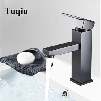 New Square Black Bathroom sink Faucet Brass Basin Mixer Bathroom Rotation spout Tap Bathroom Sink Basin Mixer Tap