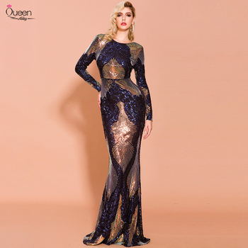 Mermaid Prom Dress Scoop Long Sleeves Shinny Sequined Floor-length Dress Party Gown with Sweep Train