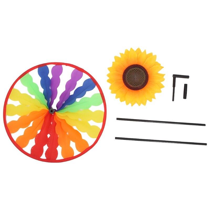 Sunflower Windmill Whirligig Wind Spinner Home Yard Garden Decor Kids Child Toy