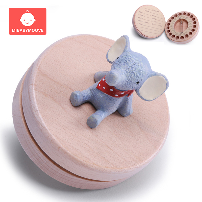 Beech Baby Teeth Storage Box Girl Boy Cartoon Animal Milk Teeth Umbilical Lanugo Keepsake Box Container Baby Souvenirs Gifts