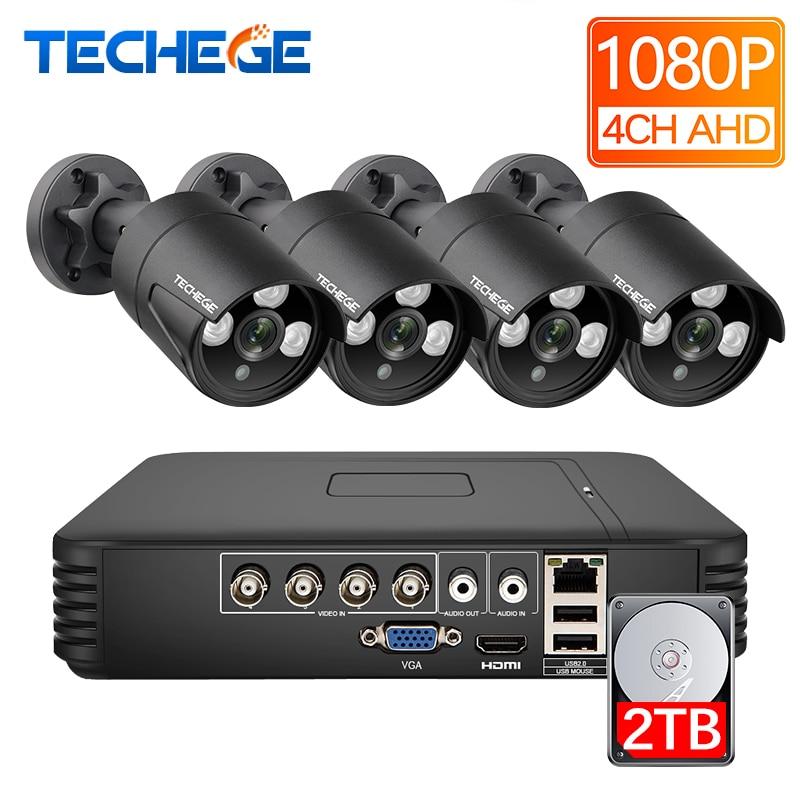 Techege 4CH 1080P AHD DVR Kit 2.0MP Security Surveillance System 4PCS Outdoor Indoor AHD Cameras 2400TVL CCTV Camera Kit