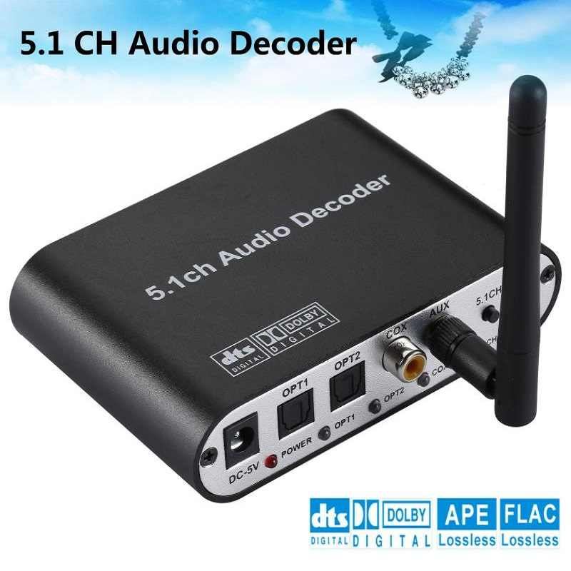 Digitale 5.1 EU Audio Decoder Dolby Dts/Ac-3 Ottico Di 5.1-Canale Analogico RCA Audio Converter Adattatore Audio amplificatore Convertitore
