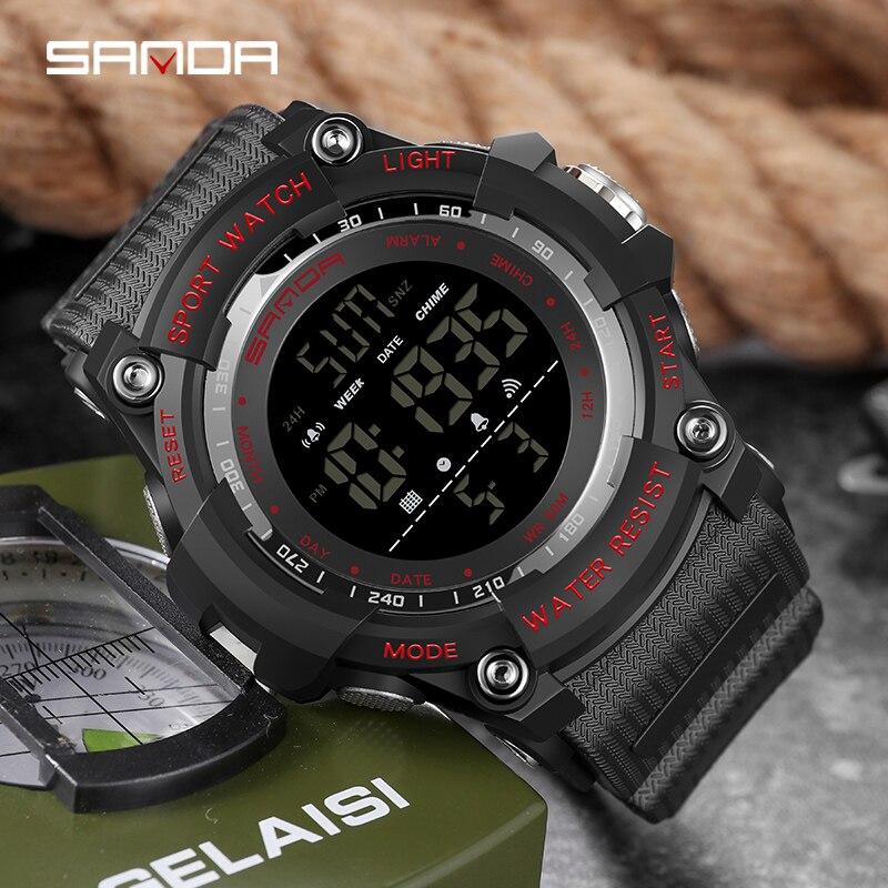 Top marque montre-bracelet 50M étanche hommes montres chronomètre Quakeproof numérique montre mode homme sport horloge SANDA montres cadeau 3