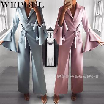 WEPBEL Jumpsuits Romper with Belt Flare Sleeve One Piece Jumpsuit Womens Elegant High Waisted Wide Leg Long Pants