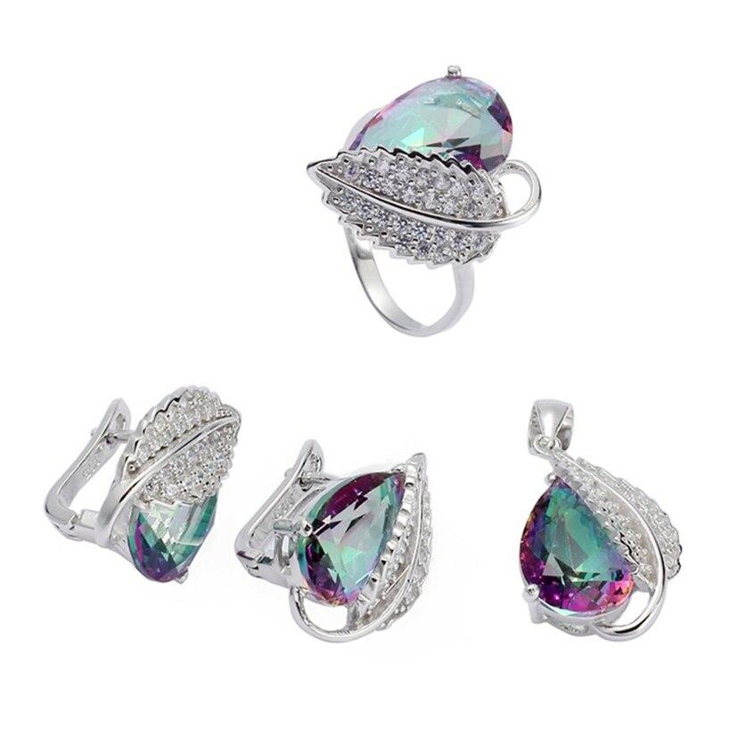 Eulonvan Charm 925 en argent sterling femmes fiançailles ensembles de bijoux de mariage (bague/boucle d'oreille/pendentif) arc-en-ciel zircon cubique S-3728set