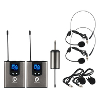 UHF Wireless System with Headset Mic/Lavalier Lapel Mic,Dual Bodypack Transmitters and One Mini Rechargeable Receiver 1/4Output
