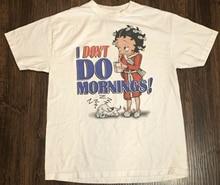 Vtg 2002 eu não faço manhãs betty boop branco camisa masculina t tamanho s 234xl a1220