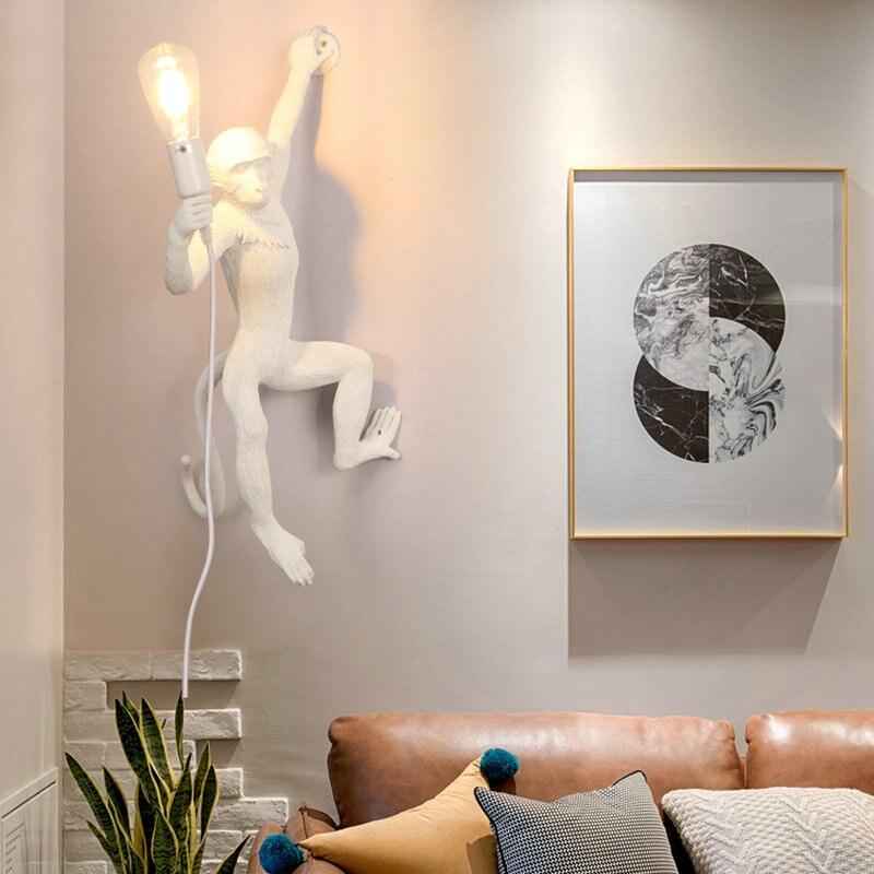 Светодиодный настенный светильник в стиле ретро с изображением обезьяны из смолы для спальни, гостиной, кухни, столовой, прихожей, лестницы,