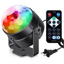 lampki laser disco light kula dyskotekowa stroboscope Pilot zdalnego sterowania małe magiczna kula LED kryształ magiczna kula świetlna RGB mini etap światła sterowania kolorowe obracanie KTV flash