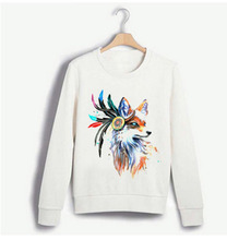 Women Hoodies Sweatshirts Full Sleeve O-neck Animal Print  warm Christmas Party Harajuku Fox Fashion 2019 Winter New Clothing футболка print bar christmas fox