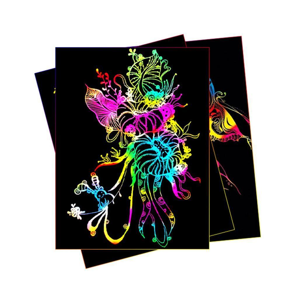 10pcs Magic Color Rainbow Scratch Art Paper Card Set with Graffiti Stencil for Drawing Stick DIY Art Painting Toy Kids