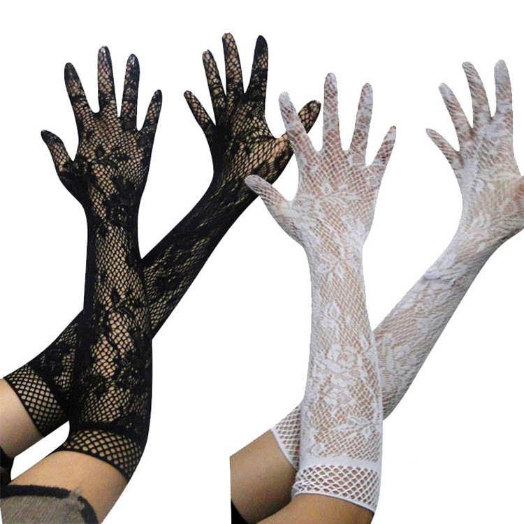 Buy Sexy Lingerie Accessories Transparent Lace Hollow out Ultra-stretch Gloves Lace Mesh Gloves Long 5072 for only 4.71 USD