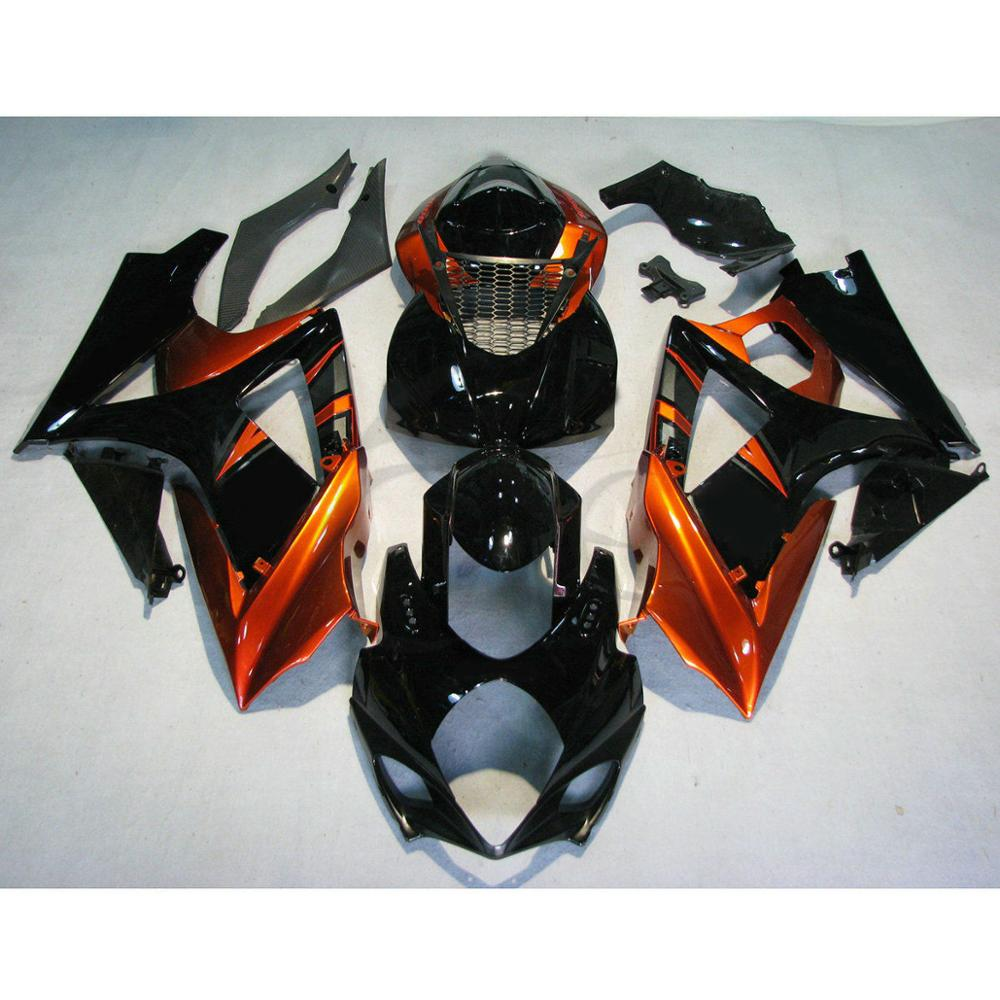 Motorcycle Motorbike Black Orange Injection ABS Plastic Fairing Bodywork Kit For <font><b>Suzuki</b></font> <font><b>GSXR1000</b></font> GSXR GSX-R 1000 2007-2008 <font><b>K7</b></font> image