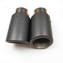1 шт., матовые выхлопные трубы из углеродного волокна для автомобиля, универсальный глушитель из углеродного волокна, мотоциклетные наконечники, выхлопные трубы без шнуровки