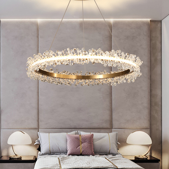 Modern Gold Round Chandelier Lighting LED Lamp Chandeliers Living Room Bedroom Crystal Ring Lights Indoor Light Fixture hot sale diamond ring led crystal chandelier light modern lamp circle lights fashion style luxury glass bedroom chandeliers
