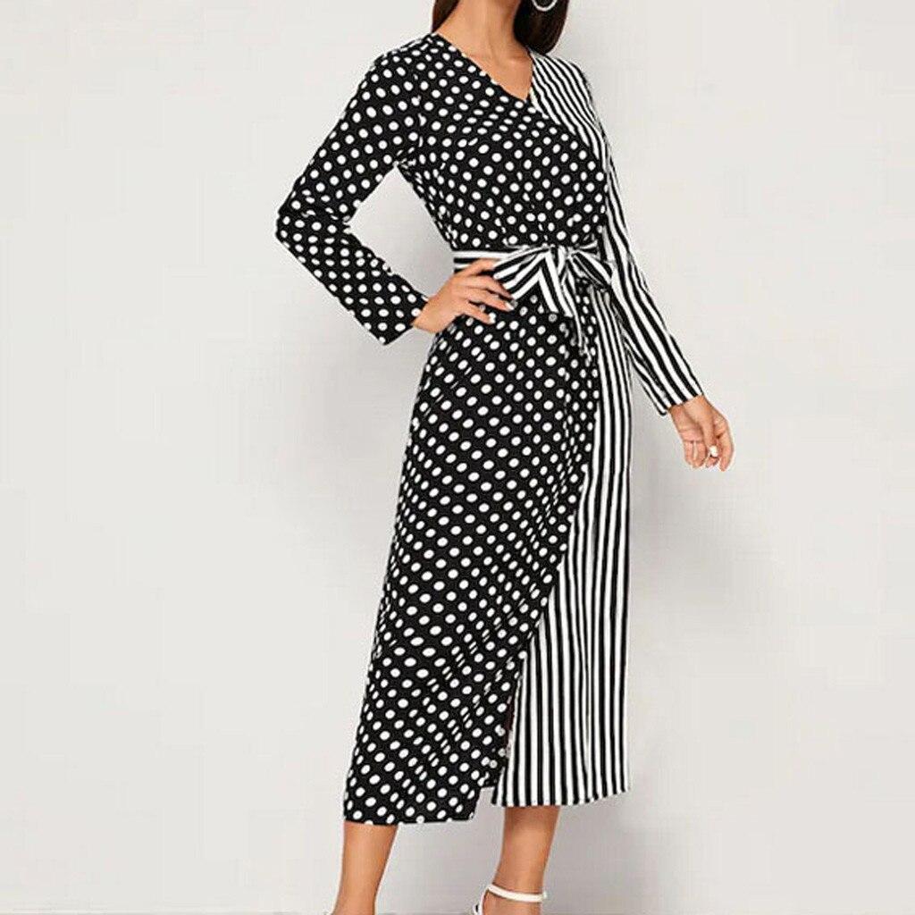 Dot Stripe Patchwork Dress Women Natural Elegent V-neck Hight Waist Daily Workwear Long Sleeve Bow Belt Dress robe hiver femme