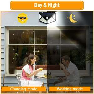Image 5 - 100 LED 3 Modes Solar Power Wall Light With 2200mAh Battery Powered PIR Motion Sensor Outdoor Garden Lamp