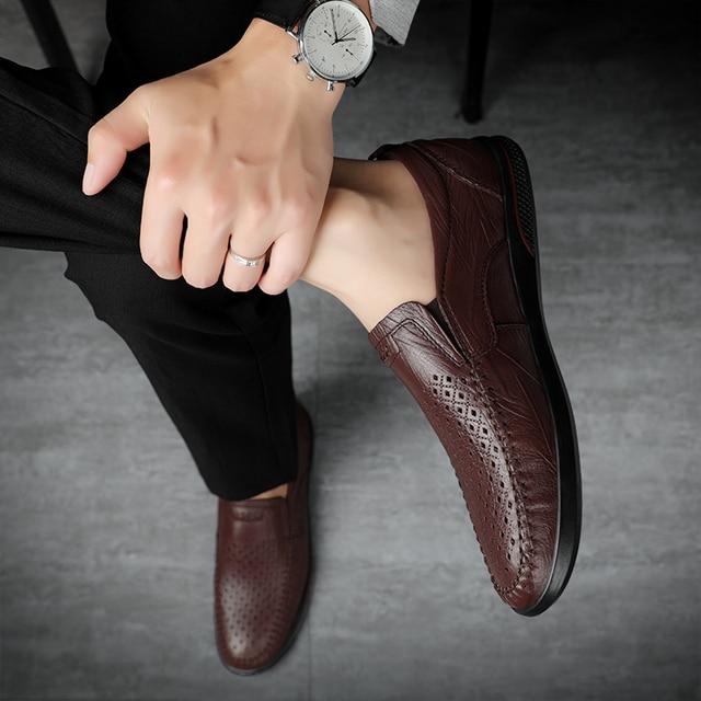 мужские повседневные туфли из натуральной кожи удобные уличные фотография