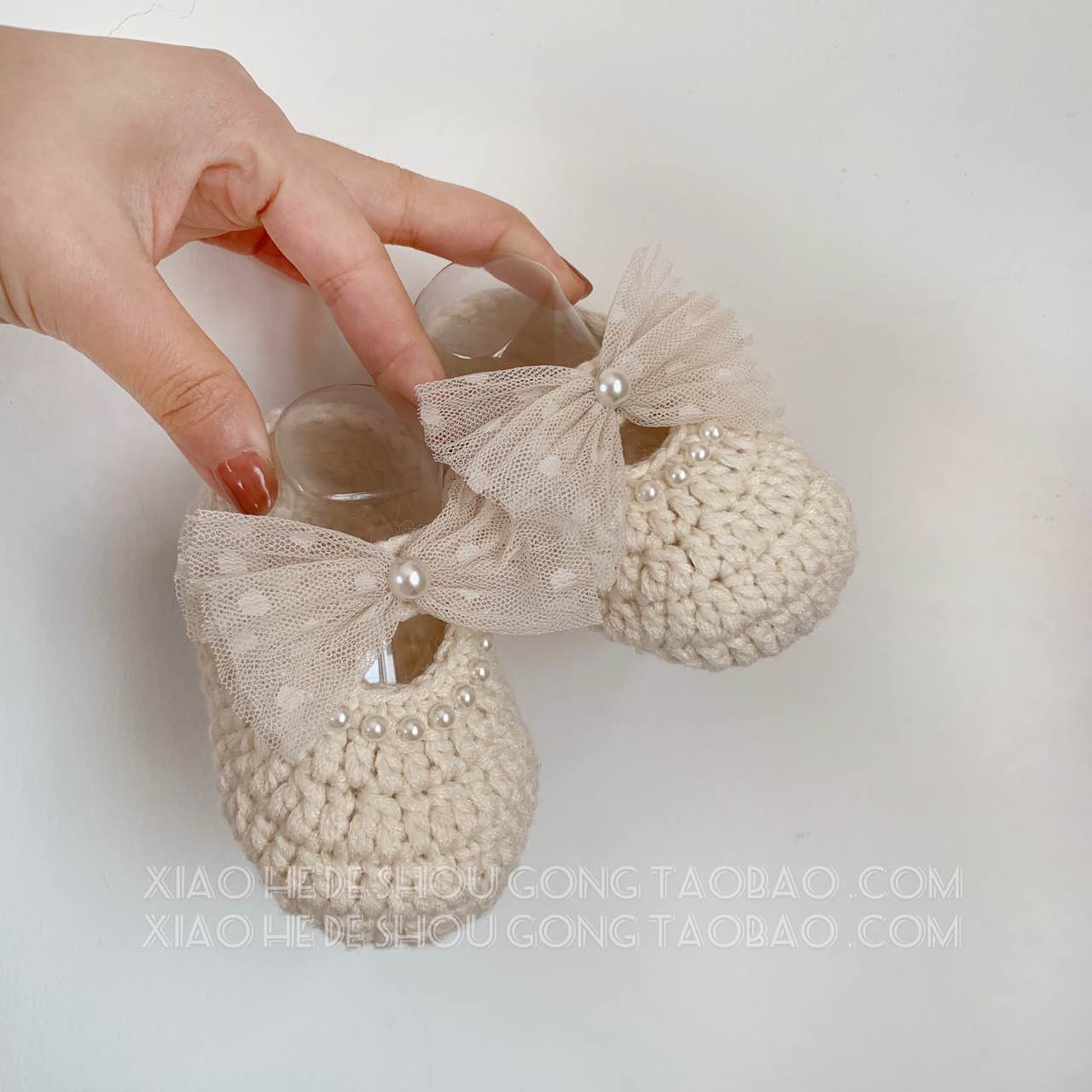 Handmade Crochet Baby Shoes Lace Mesh Bow Baby Shoes Female Cute Princess Shoes Hundred Days Full Moon Banquet Finished Products