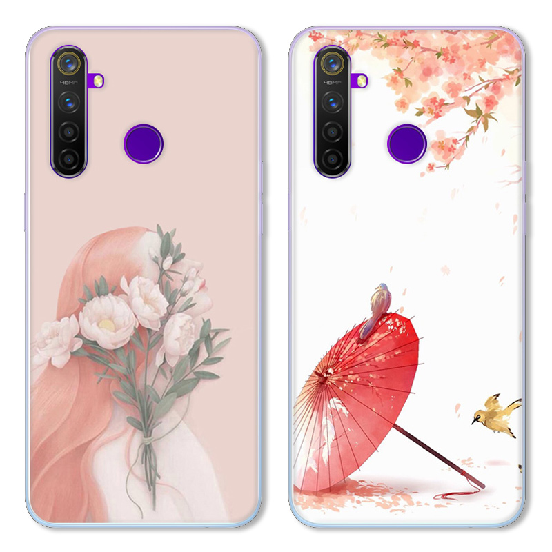 Cartoon Moon Rabbit Case For OPPO Realme Q/Realme 5,TPU Painted Mobile Phone Shell Lovely Cartoon Color Painting Case.18 Colors!