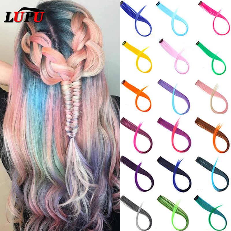 LUPU uzun düz renkli saç ekleme kadınlar için tek klip saç çizgi standı gökkuşağı saç parçaları saç aksesuarları