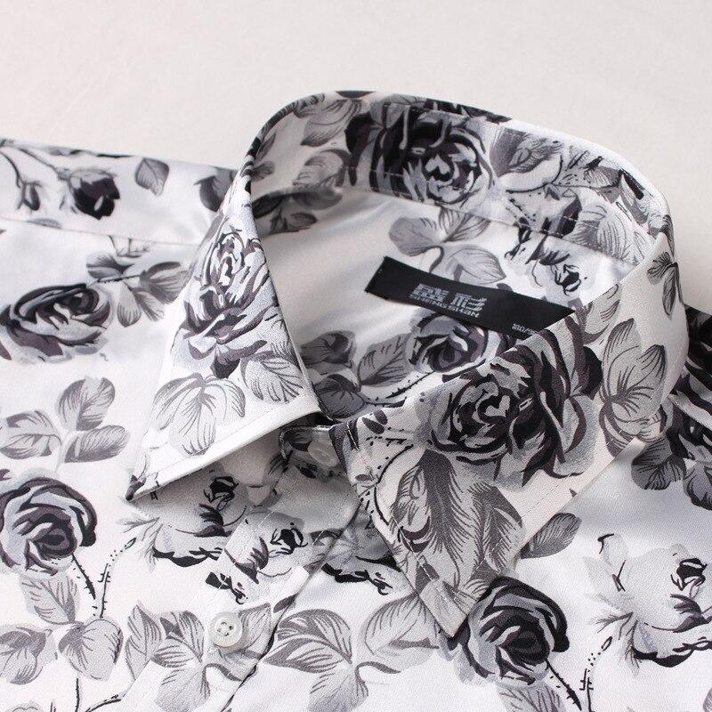 New Style Imitated Silk Fabric Silk Fabrics Printed Rose Elasticity MEN'S Long-sleeved Shirt