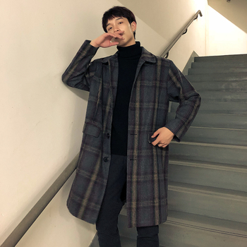 2019 winter Lattice Woolen Overcoat Man Leisure Time Loose long Coat clothes jacket Thick Plaid Blue Gray Japan Style