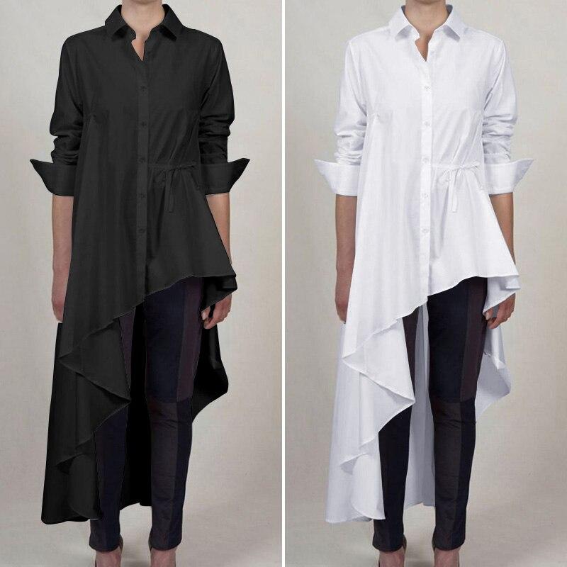 Plus Size Tunic Elegant Asymmetrical Shirts ZANZEA 2020 Women's Casual Blouse Long Sleeve Top Female Button Lapel Lace-Up Blusas