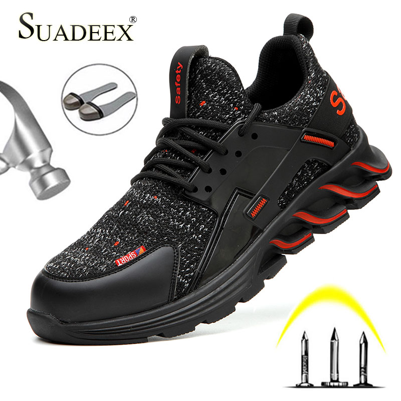SUADEEX Indestructible Shoes Men Work Safety Shoes Anti-smashing Steel Toe Working Boots Construction Footwear For Men Women