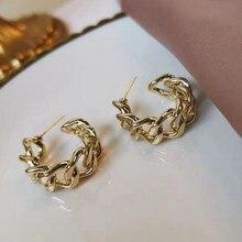 Brincos de corrente simples anel de ouro cor metal redondo hoop brincos moda círculo aros brincos de declaração para mulher festa jewery