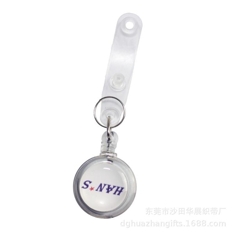 Straight Transparent Plastic Easy-pull Buckle Circle 32mm Groove Stickers Epoxy Logo Badge Zheng Jian Kou