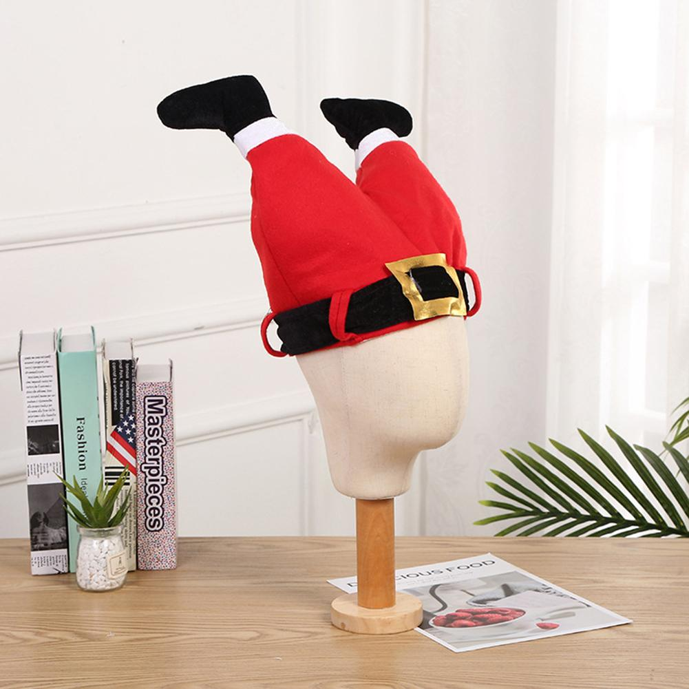 Funny Xmas Red Caps Santa Claus Legs Pants Plush Novelty Hat Cap Toys For Christmas Halloween Party Christmas Decoration