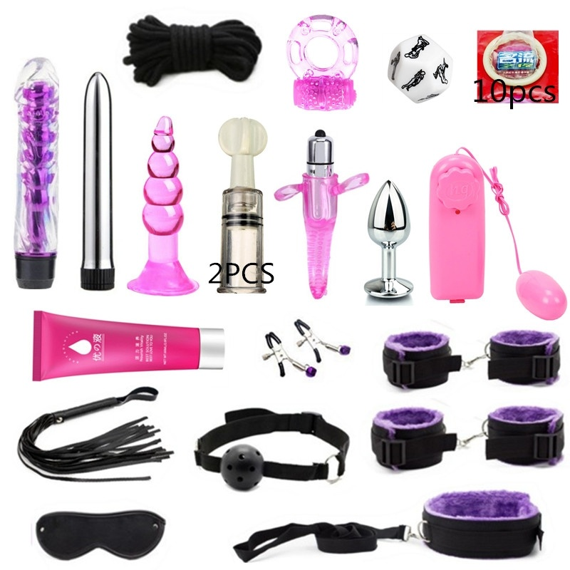 2020 NEW BDSM Adult Sex Products Bondage Restraints Vibrator,Sex Toys for Couples Handcuffs Whip Gag for Adult Slave Game Erotic